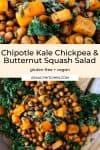 Spicy Kale and Chipotle Chickpea and Roasted Butternut Squash Salad pin graphic