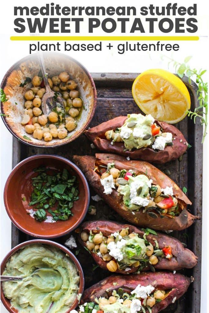 mediterranean stuffed sweet potatoes pin graphic