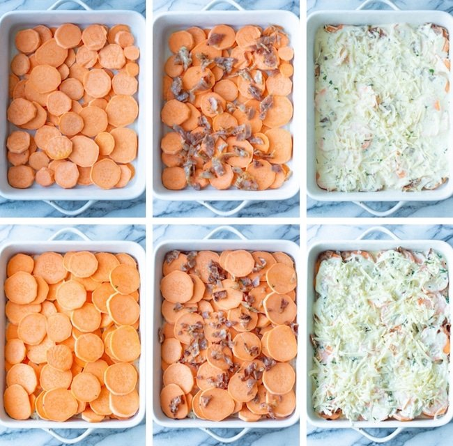 scalloped sweet potatoes collage