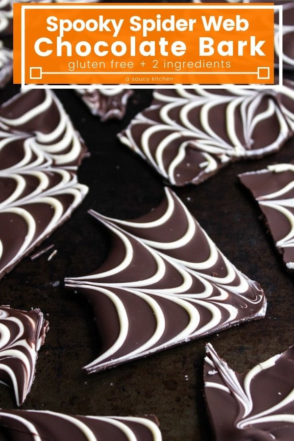 Spider web chocolate bark – a fast and easy Halloween treat that requires only two ingredients! #glutenfree #ChocolateBark #Halloween #HalloweenRecipes #Chocolate
