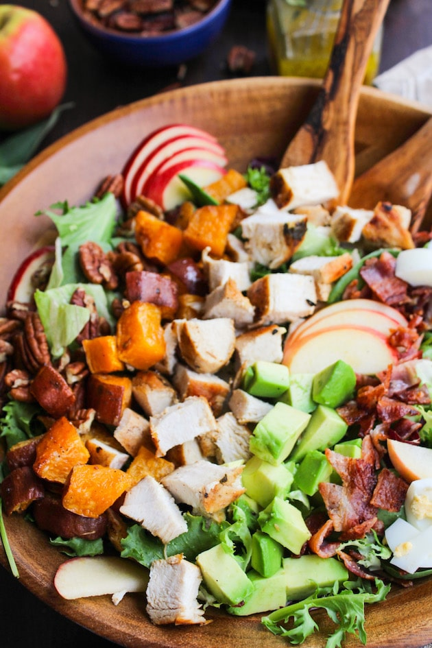 Loaded Autumn Cobb Salad up close in a salad bowl