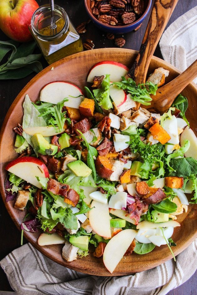 Loaded Autumn Cobb Salad mixed together