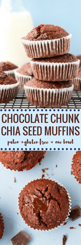 Chocolate Chunk Chia Seed Muffins - one bowl and 30 minutes is all you need to make these healthy chocolate muffins! Gluten Free + Grain Free + Dairy Free