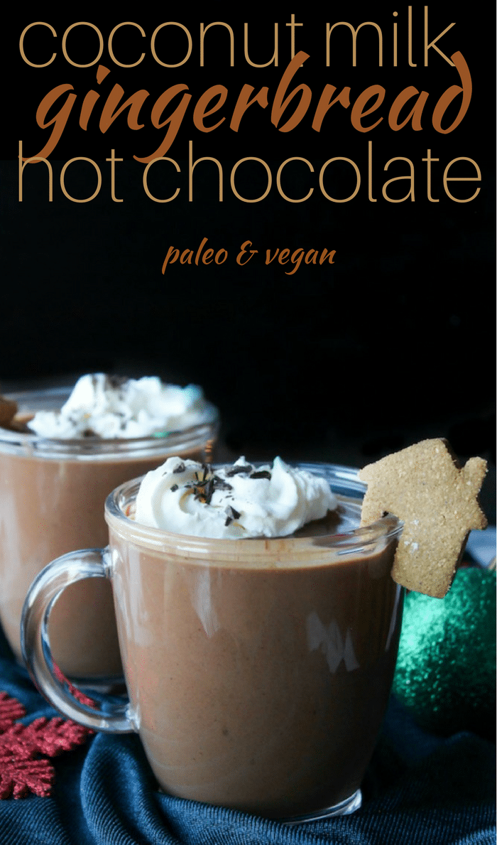 This Gingerbread Vegan Hot Chocolate is thick, velvety and sure to satisfy those seasonal cravings. No dairy, refined sugar or gluten.