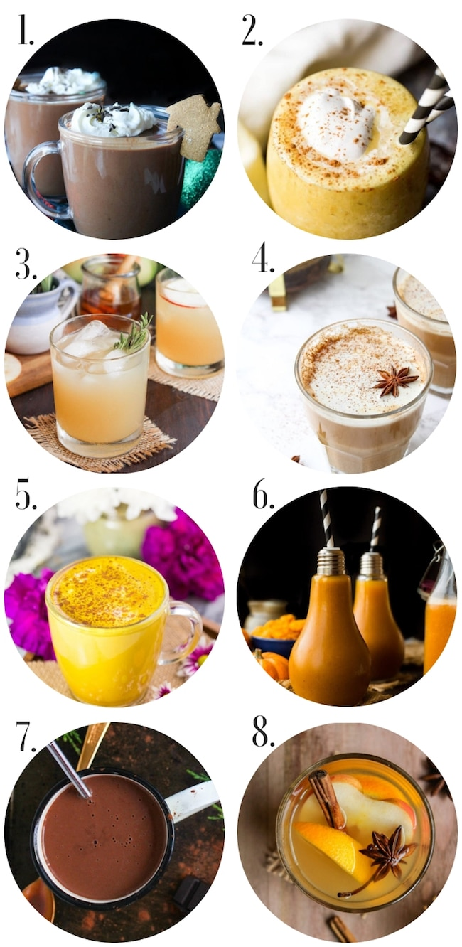 Healthy Gluten Free Thanksgiving Recipes: Drinks Collage