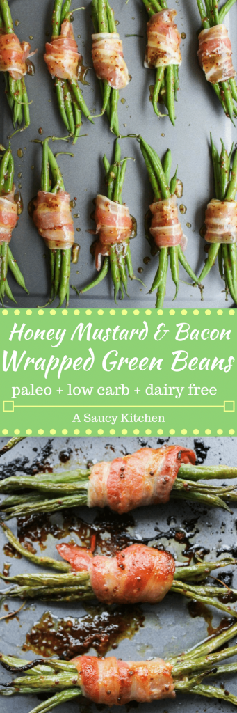Honey Mustard Bacon Wrapped Green Beans | tender green bean bundles covered in a grainy honey mustard & garlic sauce wrapped in thick slices of salty bacon | paleo + low carb