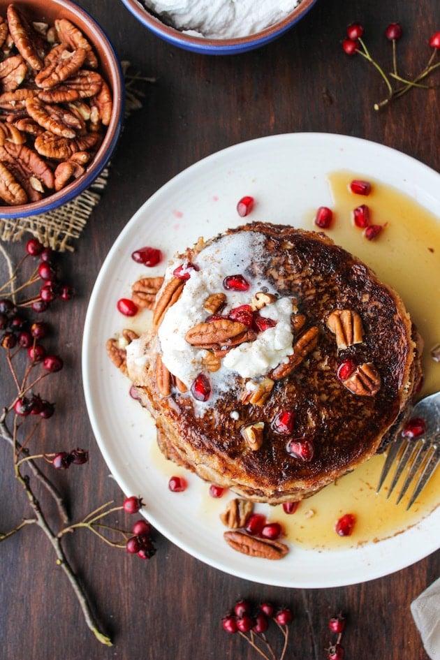 Paleo Sweet Potato Pancakes   A cinnamon & nutmeg spiced almond flour blend that's grain, dairy, and refined sugar free