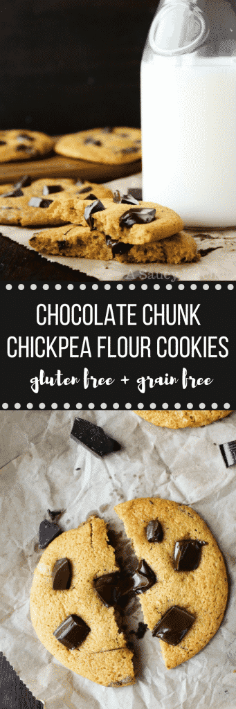 Chocolate Chunk Chickpea Flour Cookies - soft, chewy, and studded with large chocolatey chunks. Gluten free, grain free with dairy & refined sugar free options!