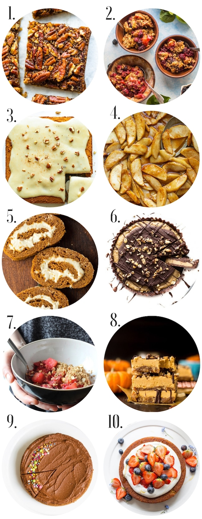 healthy gluten free thanksgiving recipes: dessert collage