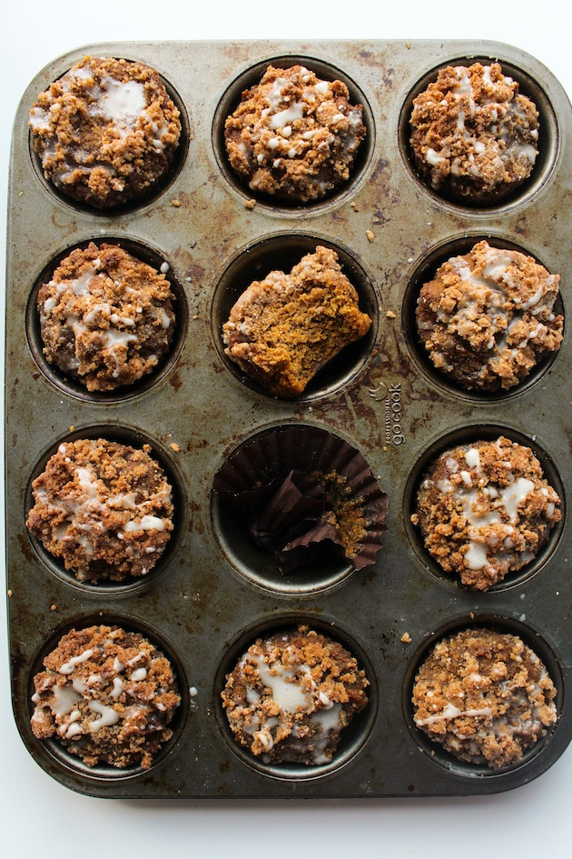 Healthy Pumpkin & Gingerbread Crumb Muffins with an optional maple icing glaze | Gluten Free + Vegan + Refined Sugar Free