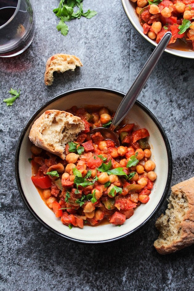 Fast and easy Chickpea & Chorizo Stew - make it in 30 minutes or less for the ultimate one pot dinner | Gluten Free + Grain Free