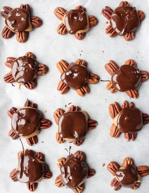 Vegan Chocolate Caramel Pecan Turtles
