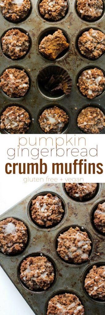 Healthy Pumpkin & Gingerbread Crumb Muffins with an optional maple icing glaze | Gluten Free + Vegan + Refined Sugar Free