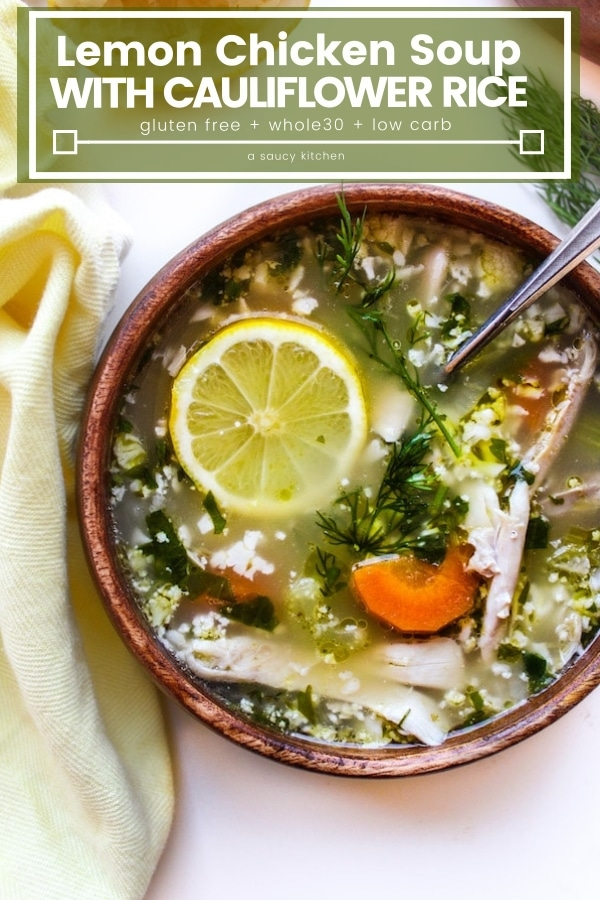 Lemon Chicken Soup with Cauiliflower Rice pin graphic