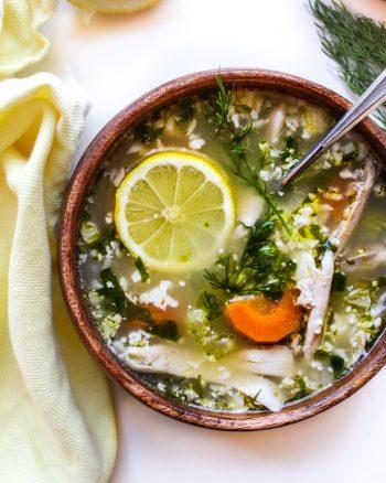 Lemon Chicken Soup with Cauliflower Rice