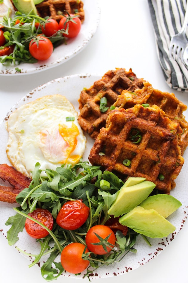 Paleo Sweet Potato Waffles with bacon, eggs and salad