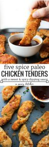 Paleo Chicken Tenders crusted in a almond flour blend and mixed with Chinese five spice with a sweet & spicy Asian dipping sauce | Gluten Free + Dairy Free + Low FODMAP option