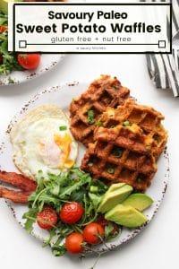 paleo sweet potato waffles pin
