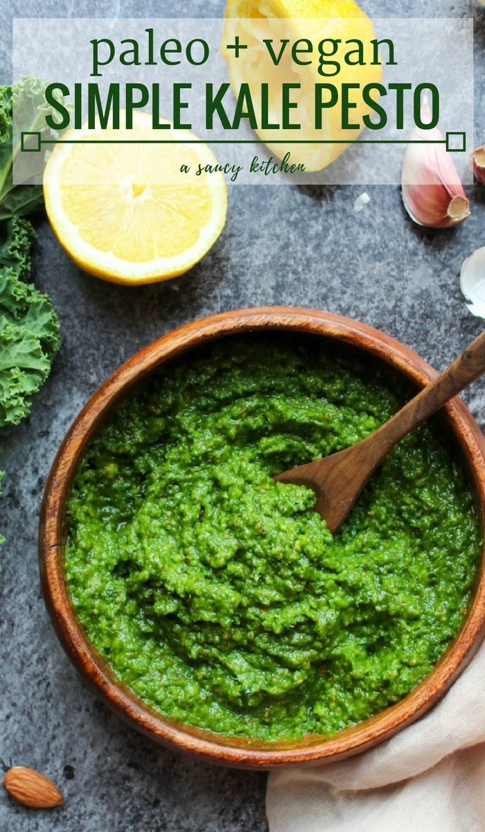 Simple Paleo & Vegan Kale Pesto made dairy free with nutritional yeast instead of parmesan | 5 minutes + 7 ingredients