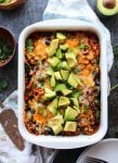 Spiralized Sweet Potato Enchilada Casserole