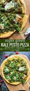 Super Green Kale Pesto Pizza topped with arugula, sliced radishes, chopped almonds and dollops of mozzarella. Gluten Free + Vegetarian