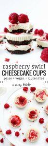 Raspberry Swirl Raw Cheesecake Cups pin graphic