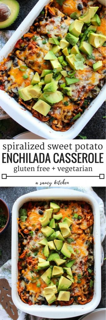 Spiralized Sweet Potato Enchilada Casserole loaded with veggies, black beans & doused in a simple enchilada sauce| Gluten Free + Vegetarian