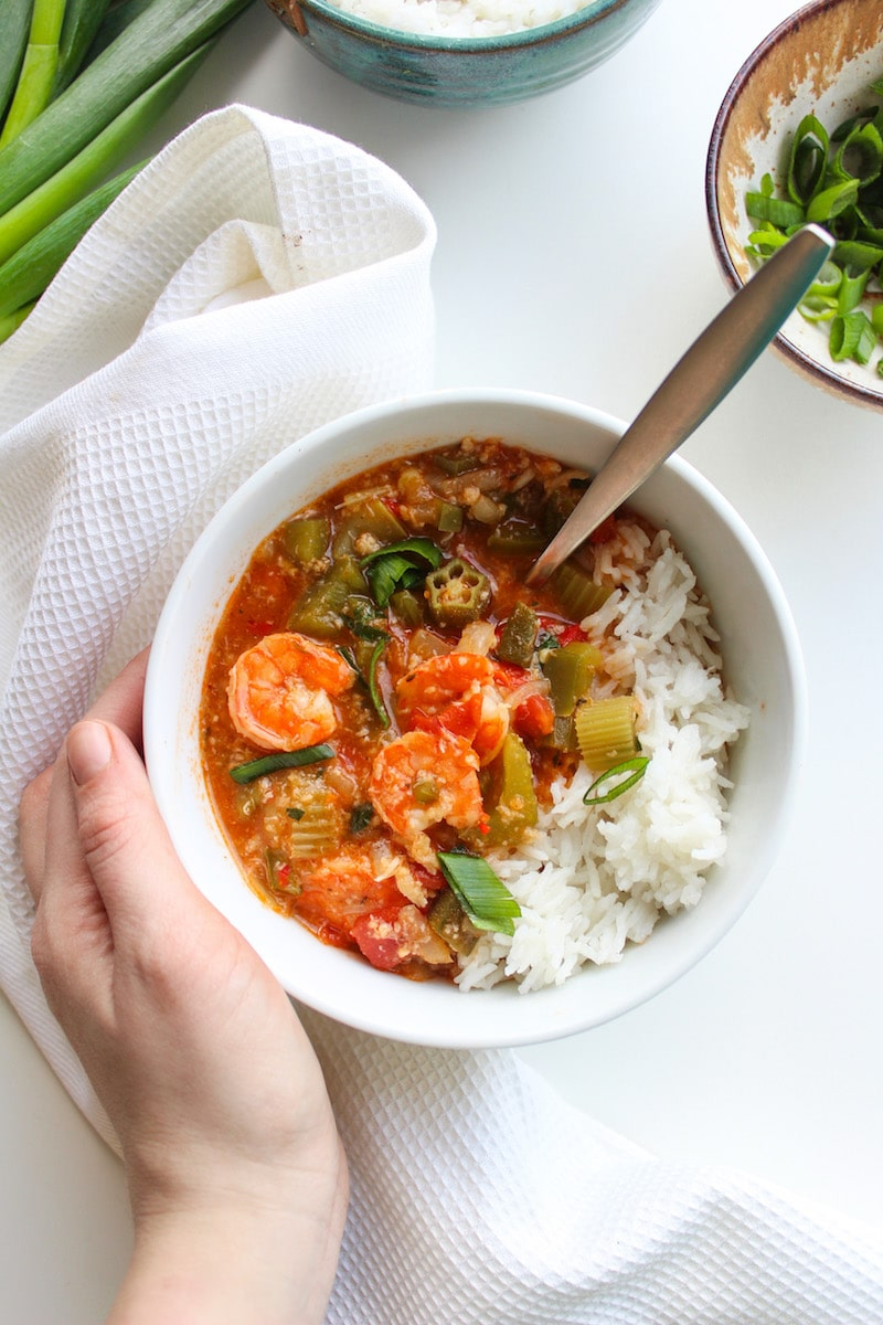 One pot Fast Seafood Gumbo loaded with crab, shrimp and tons of veggies | Gluten Free + Paleo Option