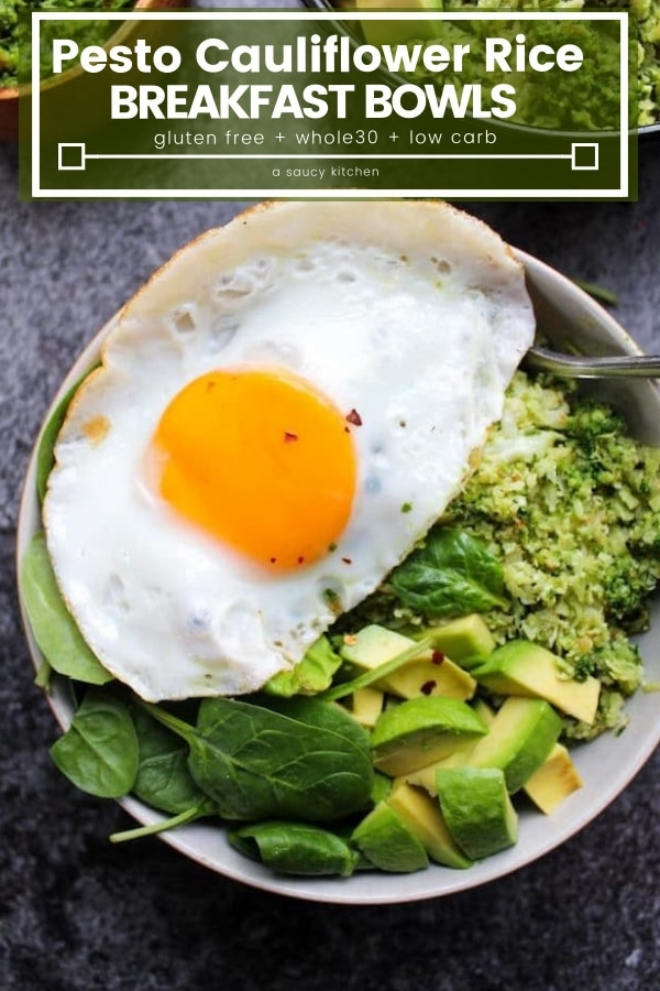 Pesto Cauliflower Rice Pesto Bowls pin graphic