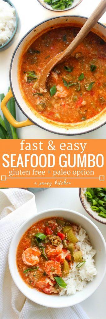 Fast Seafood Gumbo (Gluten Free + Paleo Option)