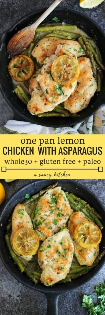 One Pan Lemon Chicken with braised asparagus in a simple lemon mustard sauce. Gluten Free + Whole 30 + Paleo Option