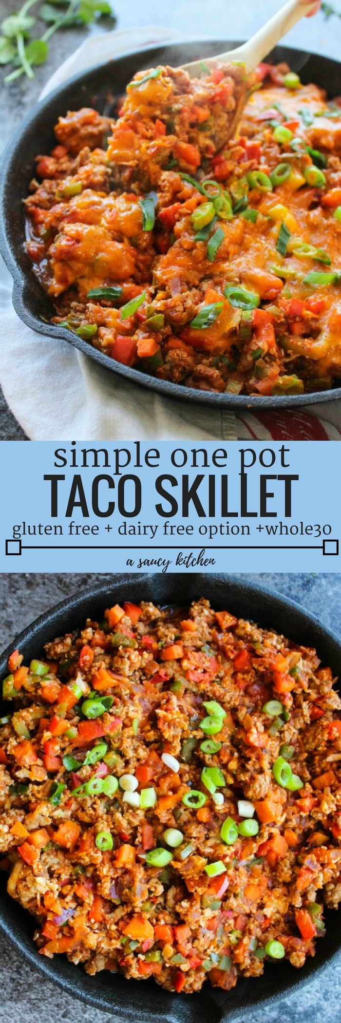 Super simple one pot Taco Skillet packed with veggies, protein, and loads of spice | A perfect, low carb weeknight dinner! Gluten Free + Whole30 & Paleo options - just skip the cheese!