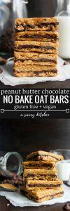 Peanut Butter Chocolate Oat Bars   4 ingredient + no bake   Gluten Free + Vegan Option