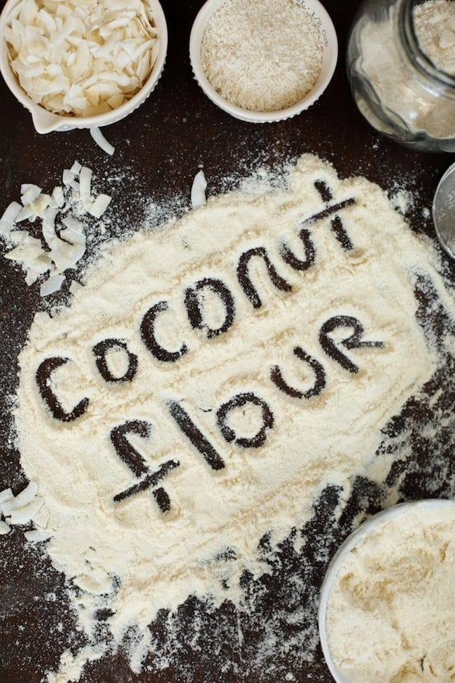 'coconut flour' written in coconut flour