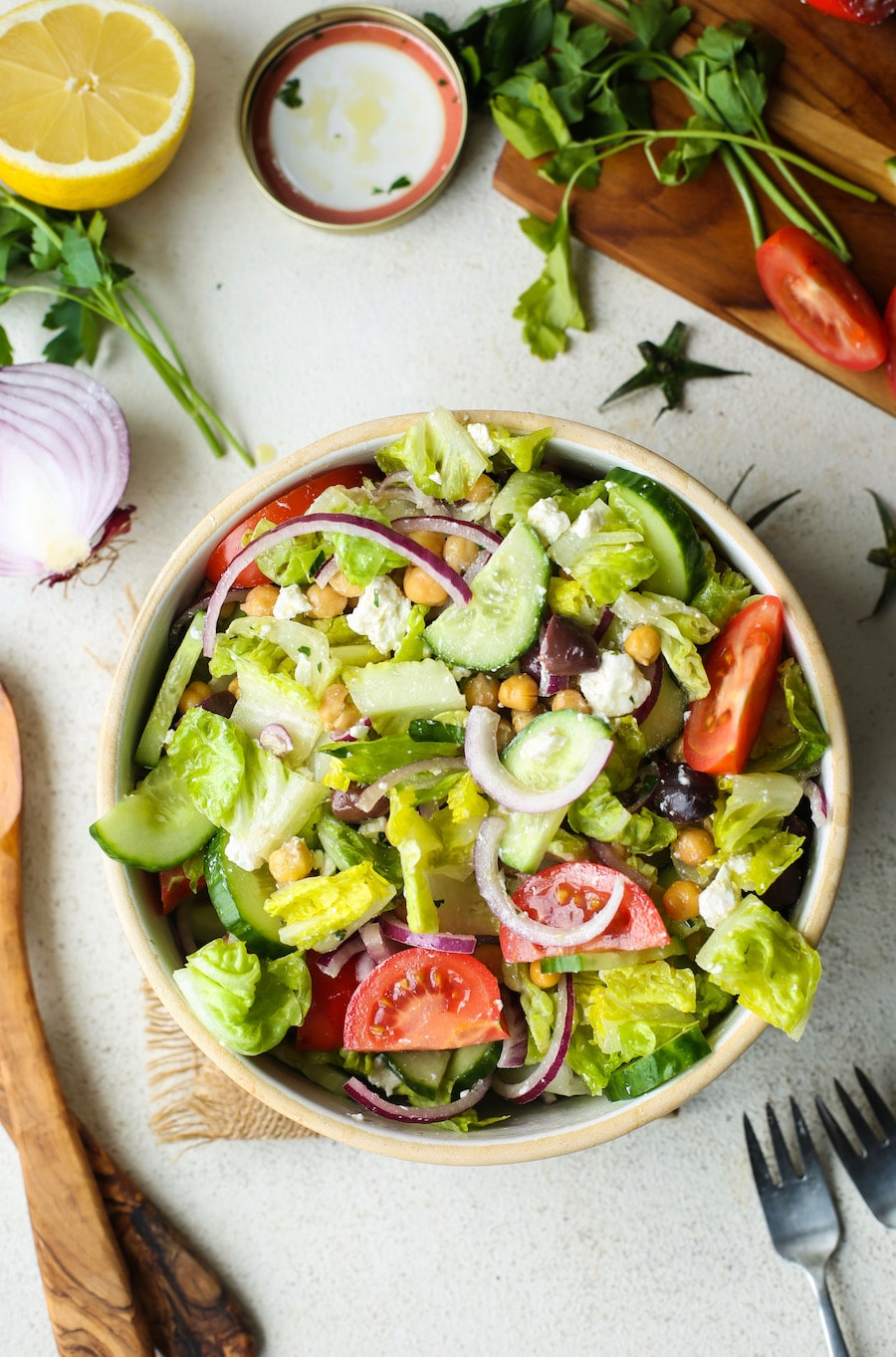 Greek Salad with Chickpeas + Video