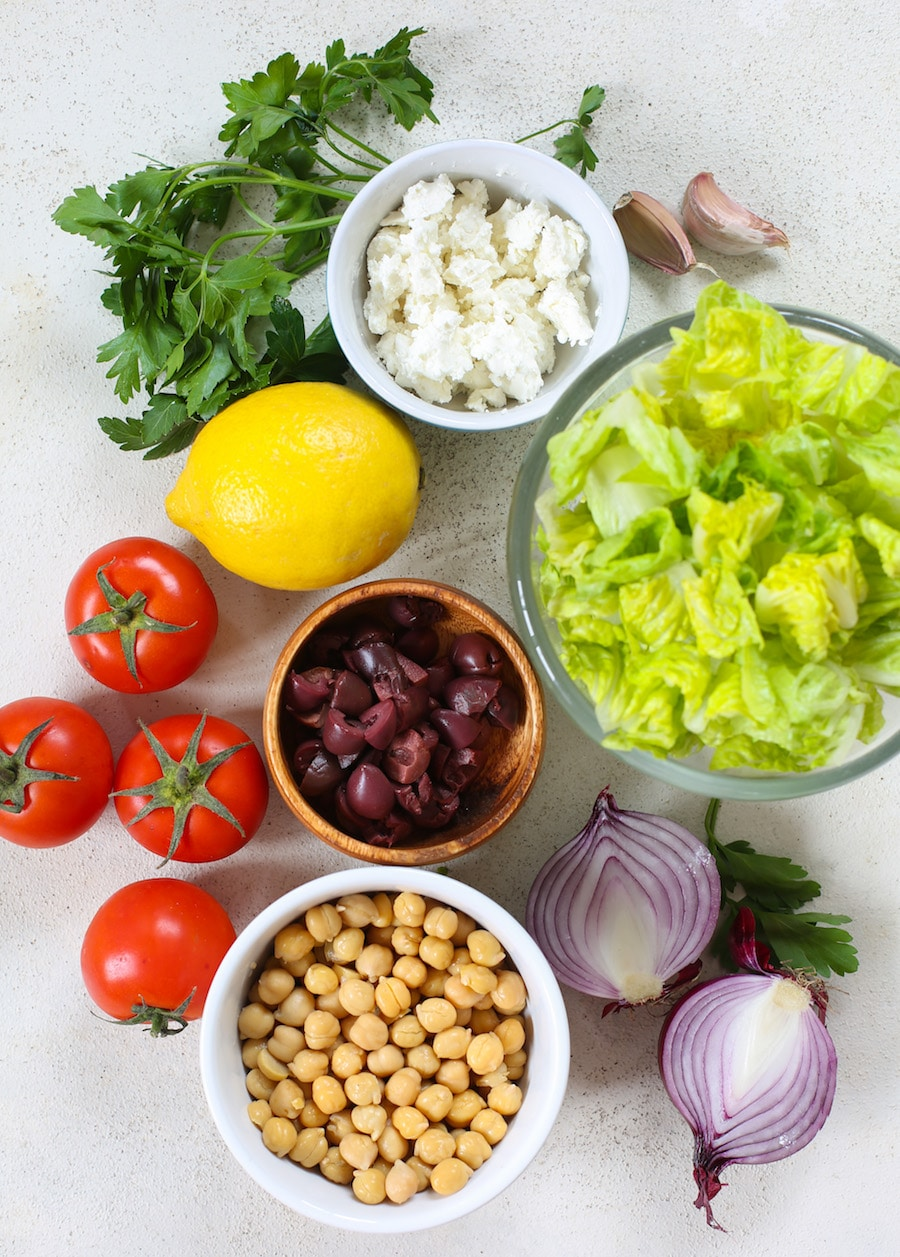 Greek Salad with Chickpeas + Video - A Saucy Kitchen