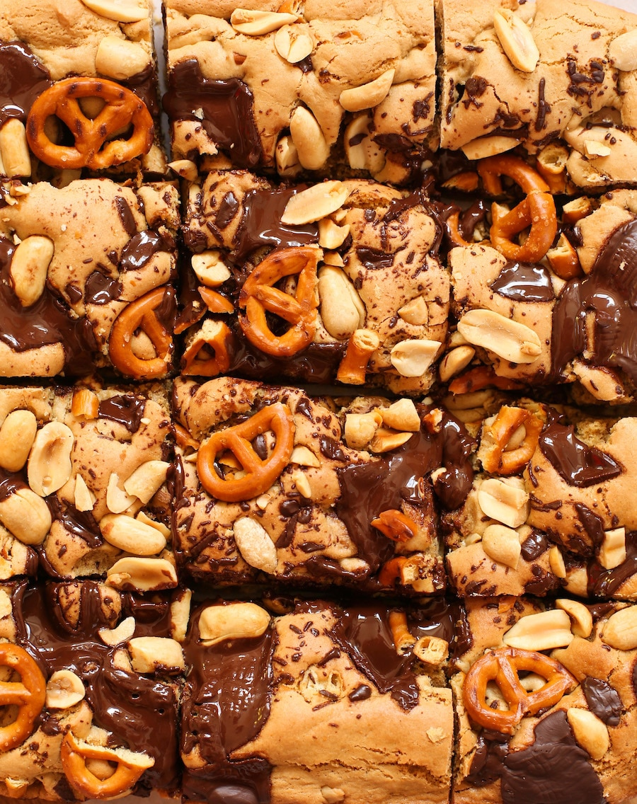 Image for Peanut Butter Pretzel Gluten Free Cookie Bars - A Saucy Kitchen