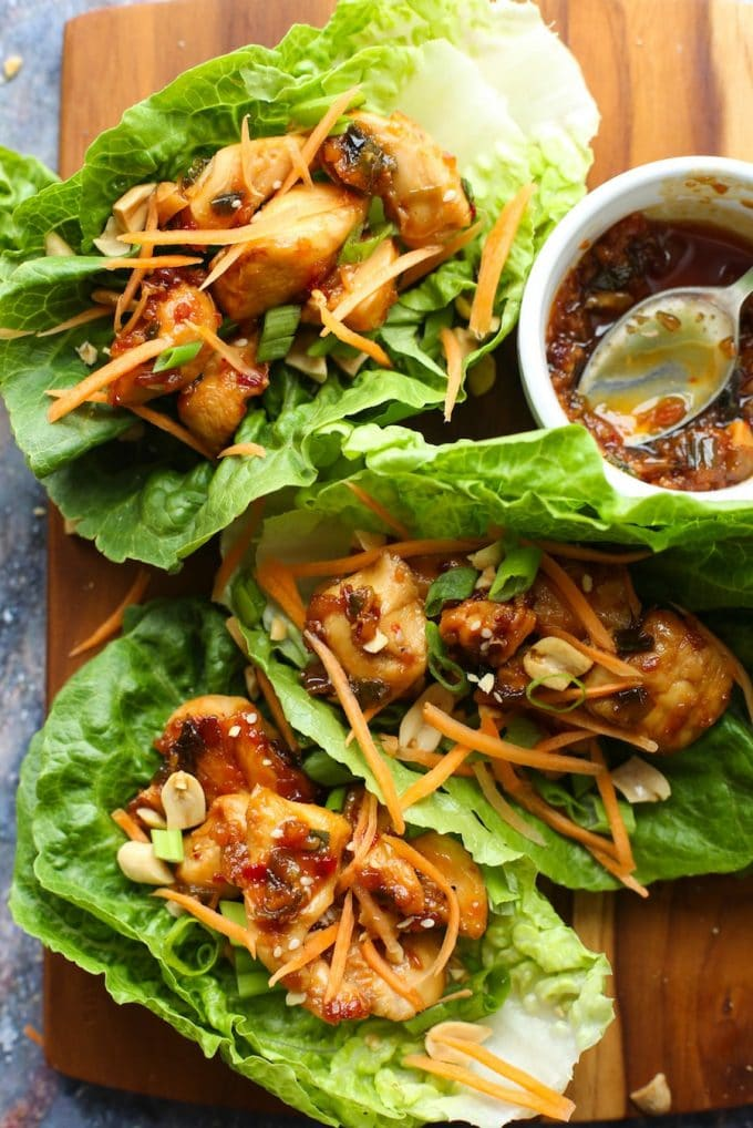 Teriyaki Chicken Lettuce Wraps (Paleo Option)