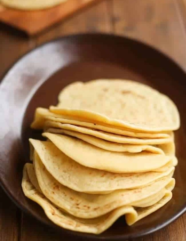 grain free tortillas stacked on a plate