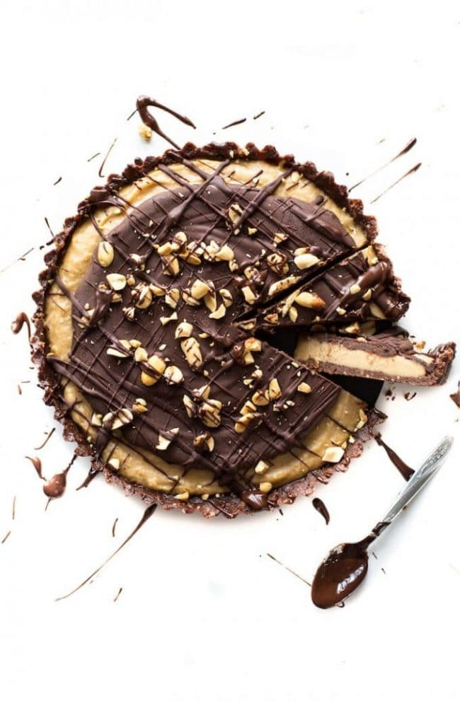 Frozen Vegan Peanut Butter Cup Pie drizzled with chocolate