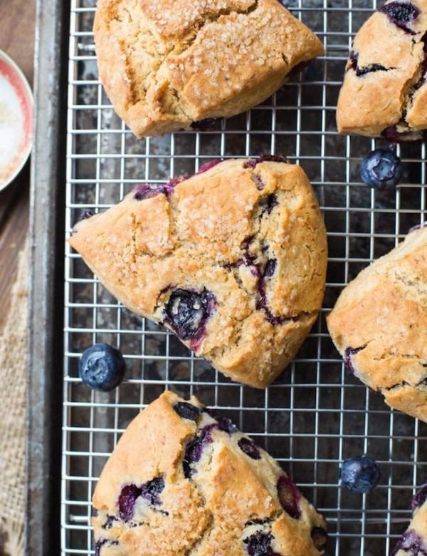 Vegan Gluten Free Blueberry Scones on a cooling rack
