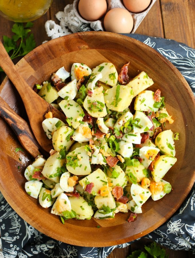 No Mayo Potato Salad with Herbed Bacon & Eggs
