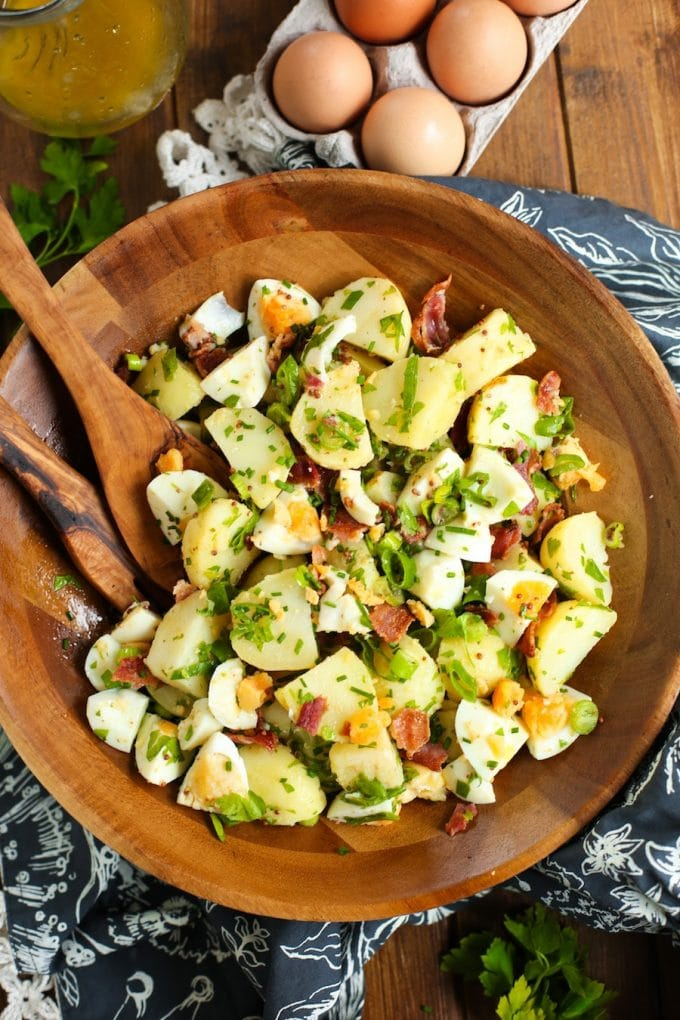 No Mayo Potato Salad with fresh herbs, savoury bacon, and hard boiled eggs - the perfect addition to any summer BBQ | Whole30 + Paleo + Low FODMAP