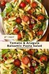 Tomato & Arugula Balsamic Pasta Salad mid length pin graphic