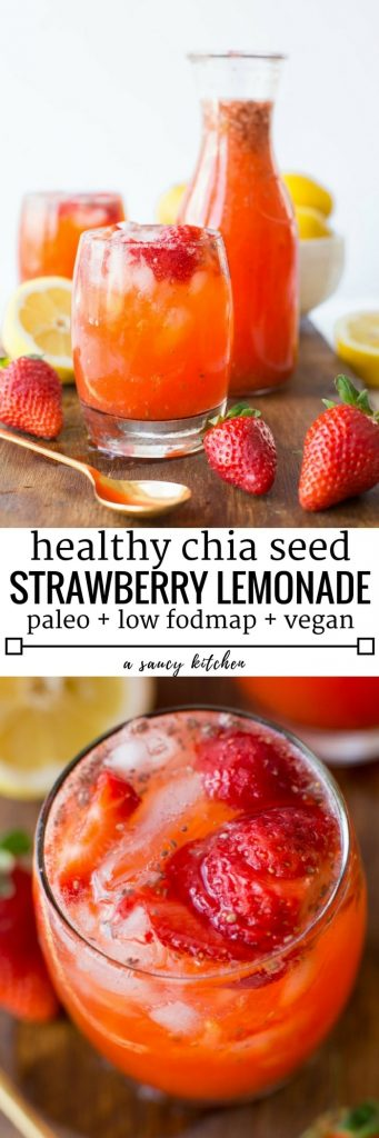 Super simple healthy Strawberry Lemonade with chia seeds - only 5 ingredients need | Paleo + Vegan + Low FODMAP