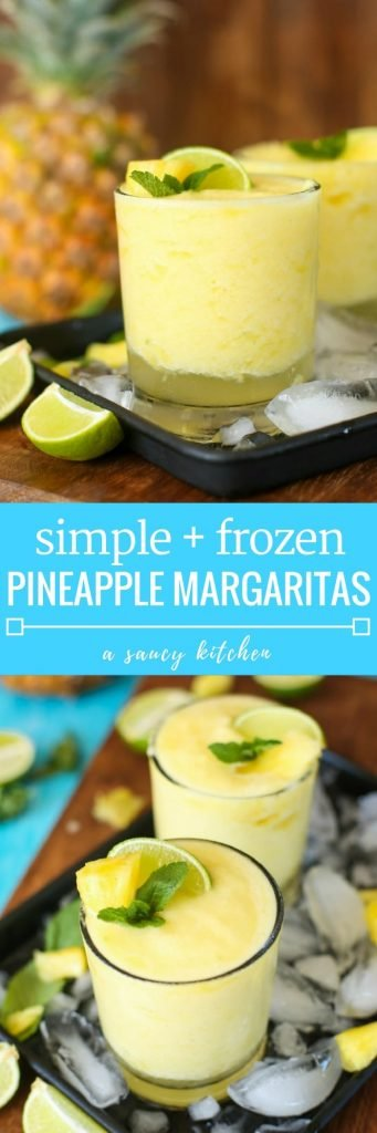 Pineapple, freshly squeezed lime juice, tequila and triple sec are combined in these light, naturally sweetened & refreshing Frozen Pineapple Margarita!
