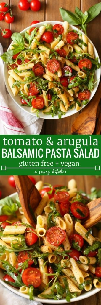 Simple balsamic pasta salad with fresh cherry tomatoes, arugula and basil in an easy vinaigrette. Serve as a side dish or light meal. | Gluten Free + Vegan