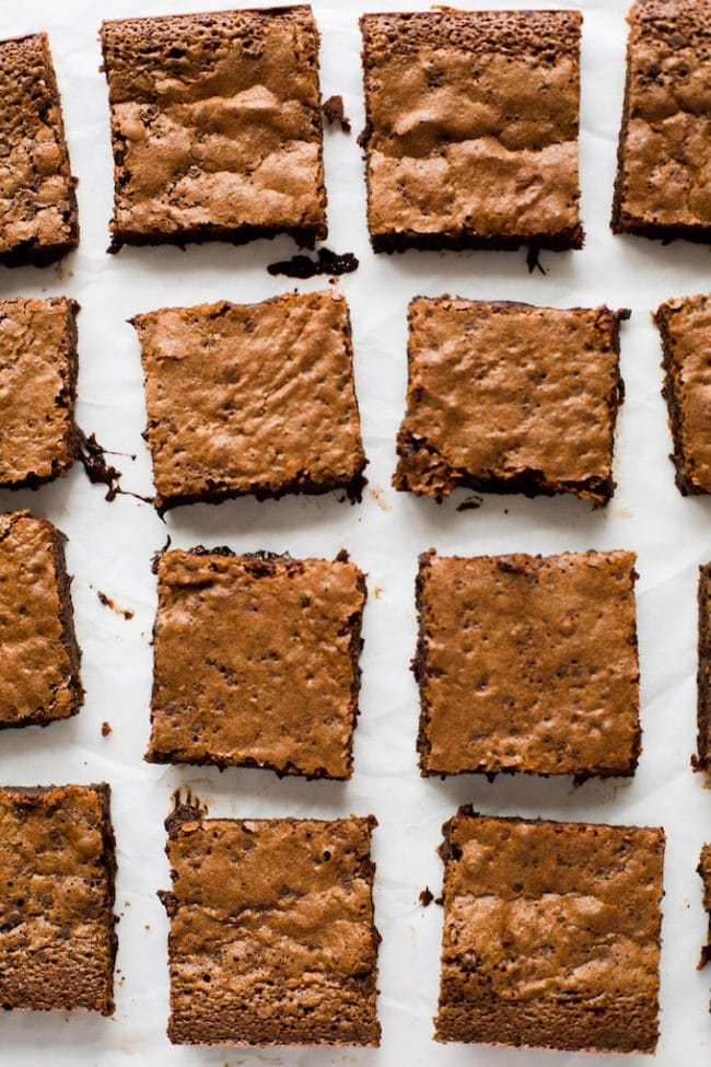 paleo brownies cut into squares