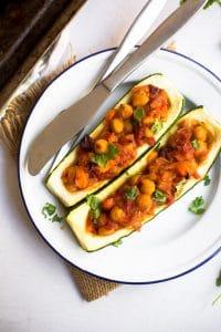 Moroccan Stuffed Zucchini Boats
