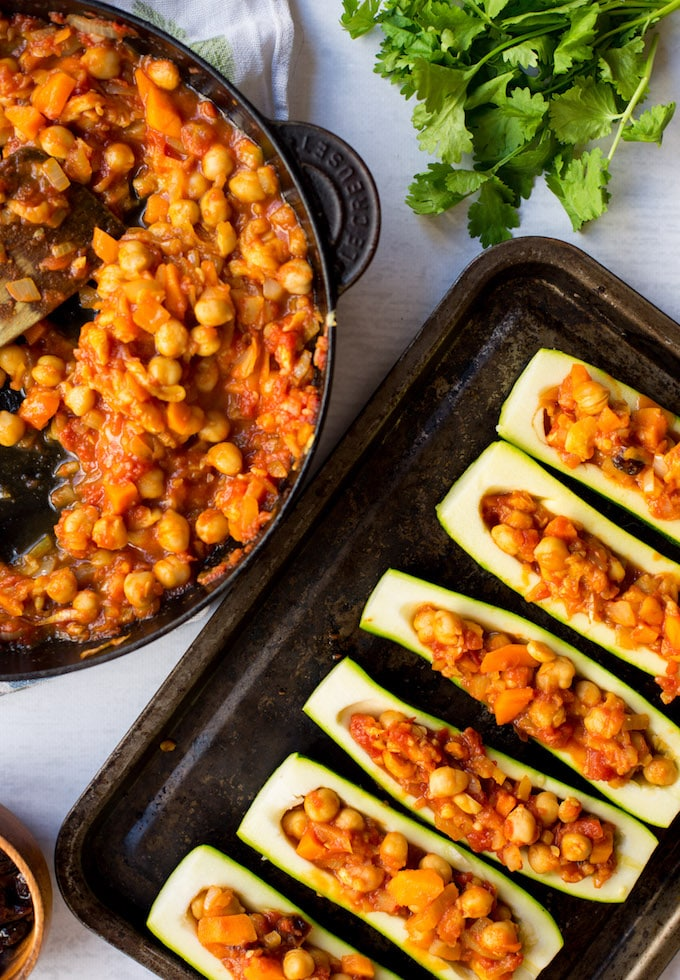 Moroccan Stuffed Zucchini Boats – Moroccan spiced veggies with chickpeas and dried cherries | Gluten Free + Vegan